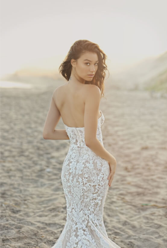 Brunette in White Enzoani Dress