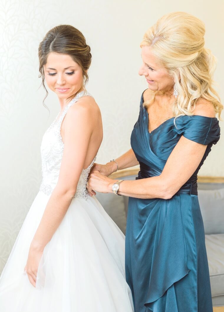 Mother of Bride in Blue Beige Evening Dress